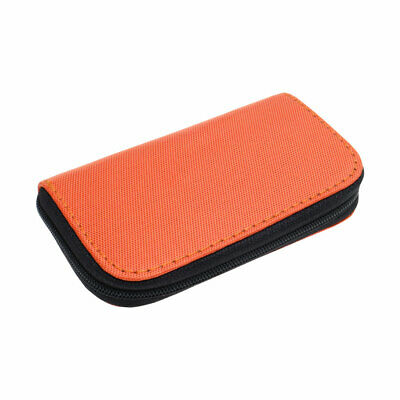 Nylon 22 Slots Storage Carrying Pouch Case Orange for CF Micro SD Memory Card
