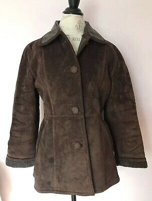 37eae51dd Vintage Sheepskin Suede Coat GUCCI Paolo Brown Leather Womens Medium Jacket