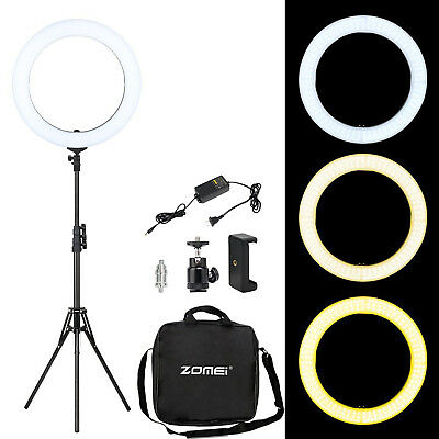 """ZOMEI 18"""" LED SMD Ring Light Kit Stand Tripod Dimmable 5500K for Makeup Phone"""
