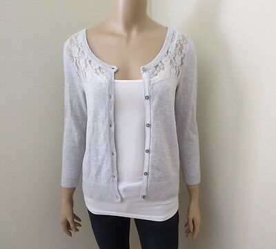 Hollister Floral Femmes Cardigan Dentelle Taille M Pull Gris Clair 3/4 Manche