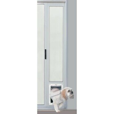 Aluminum Medium Dog Doggie Pet Cat Patio Sliding Glass Door Mount Plastic Flap