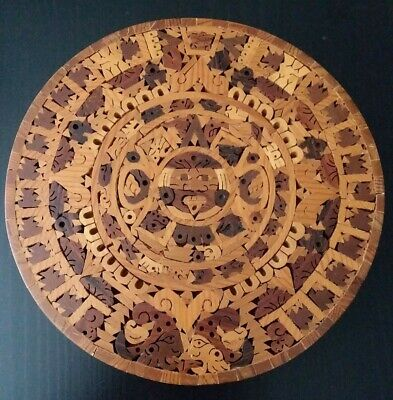Aztec Calendar Wood Inlay Wall Sculpture