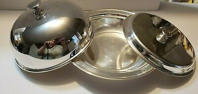 Small Silver plated serving dish with lid