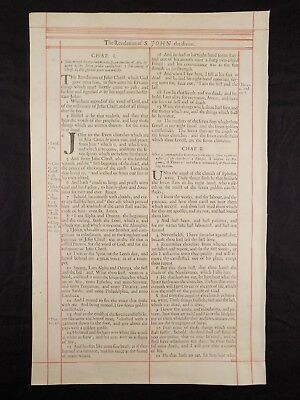 1680 Oxford First Folio King James Bible Leaf * Title Page Jude & Revelation *nf