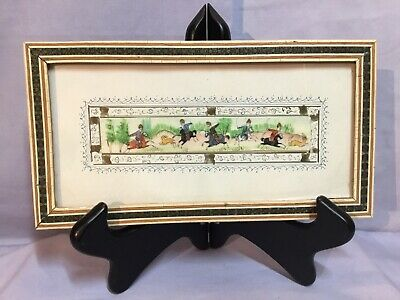 Miniature Persian Painted BONE TILE Hunt Scene In Frame Style of H ALI SAJJADI