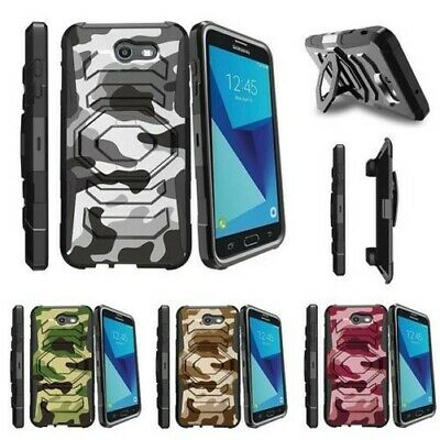 For Samsung Galaxy On7 J7 Prime J7 Halo (2017) Clip Holster Case Gray Camo