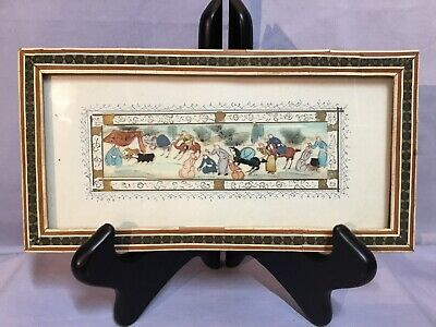Miniature Persian Painted BONE TILE Camp Scene In Frame STYLE OF H ALI SAJJADI