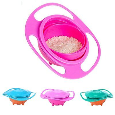 Non Spill Feeding Toddler Gyro Bowl Dishes 360 Rotating Baby Avoid Food Spilling