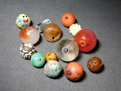 Various OJIME Beads NETSUKE Mixed Lot  Japanese Antique Vintage for INRO