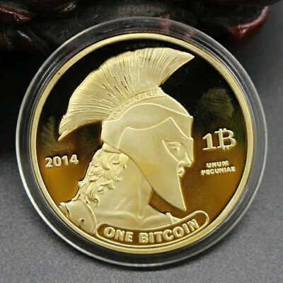 Gold Titan Bitcoin Commemorative Round Collectors Bit Coin is Gold Plated Coins
