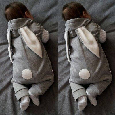 Newborn Kids Baby Boy Girl Rabbit Romper Hooded Jumpsuit Bodysuit Outfit Clothes