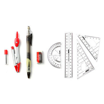 (8p in 1set) Drafting Tools (with Tracking) Protractor Ruler Eraser Compass Etc.