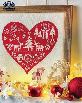 Red heart Christmas finished cross stitch Xmas gift lights tree reindeer boots