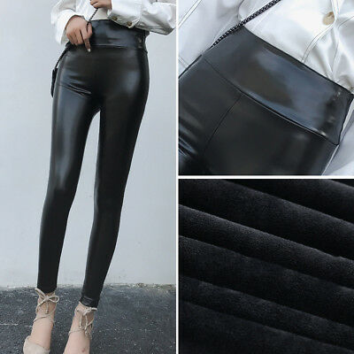 ff1e53279ab7b6 Women Fleece Lined PU Leather Winter Thick Warm Thermal Stretchy Leggings  Pants