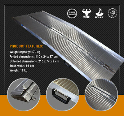 Wheelchair Ramp 2.1M Aluminium Folding Mobility Scooter Portable Loading Ramps