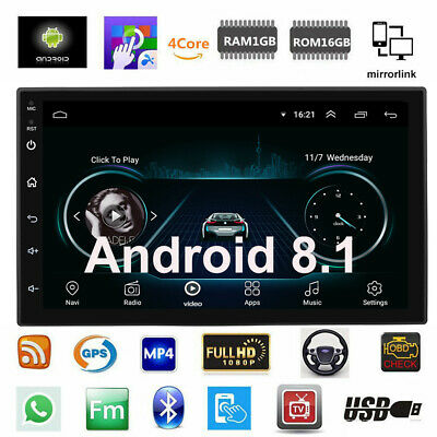 """7"""" Touch Android 8.1 Car Stereo GPS Navigation Radio Player Double Din WIFI H6K9"""