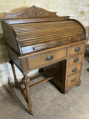 Antique Edwardian Solid Oak Roll Top Desk  . Delivery Available