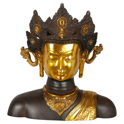 Antique Finish Fine Home Decorative Buddha Tara Bust Statue Showpiece Figure 16""