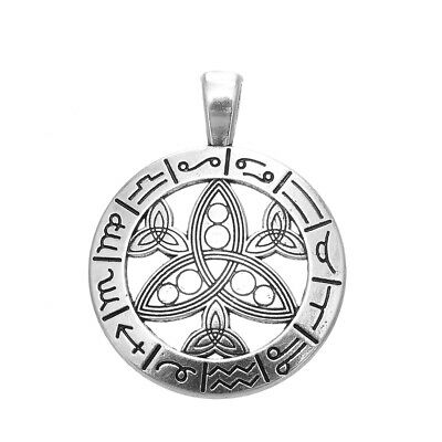 5pcs Astrology Zodiac Pagan Wheel Year Trinity Pendant Necklace DIY