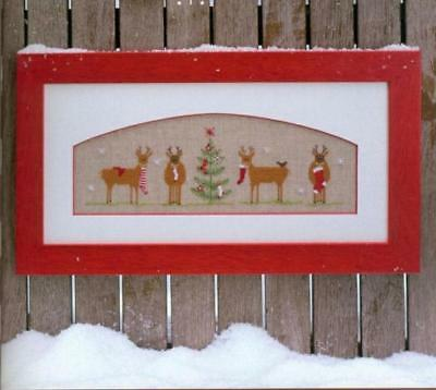 Christmas gift finished cross stitch piece Xmas tree reindeer socks linen gift