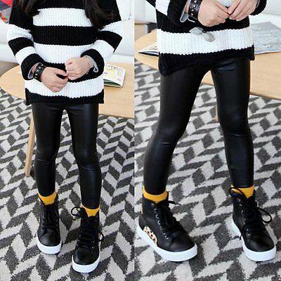 Toddler Kids Baby Girls Leather Pants Stretch Slim Skinny Leggings Trousers 2-7Y