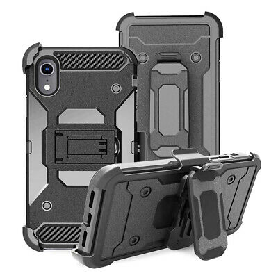 For iphone XR, Shockproof Defender Armor Case w/ Belt Clip Holster Stand Cover