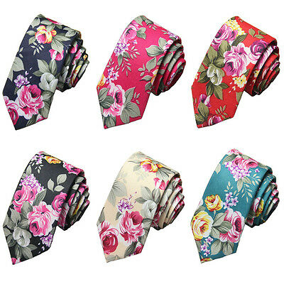 Men Stylish Slim Skinny 5cm Floral Flowers Cotton Necktie Wedding Party Neck Tie