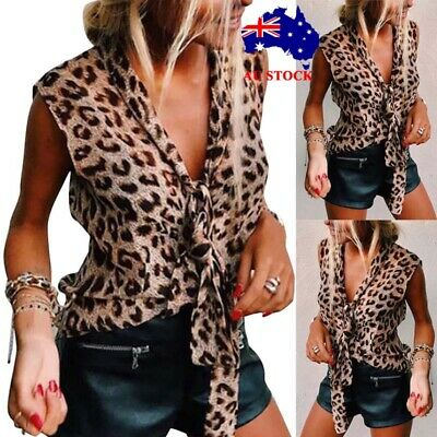 Women Ruffled Frill Leopard Sleeveless Vest Tops Ladies Summer Casual Blouse Tee