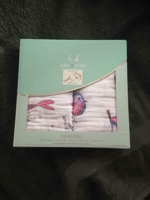 2 ADEN & ANAIS 100% Cotton Muslin SWADDLES 120 x 120 cm Natchie BETINA BIRD New