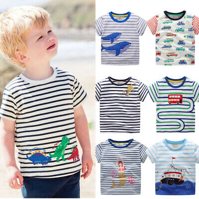 Children Girl Boy Short Sleeve Round Neck T-Shirts Top 3-8Y Kids Outfits Clothes