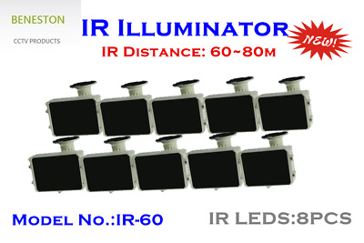 IR Illuminator / 60~80m / IR LEDS 8PCS / IP66 / CCTV / Security 10pcs