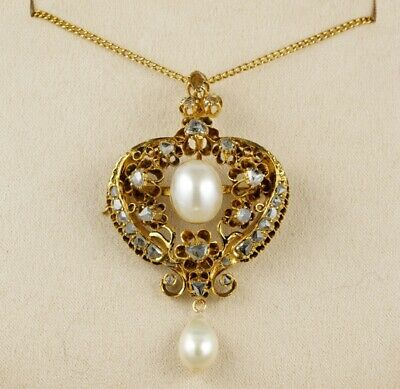 Late Georgian Natural Pearl Rose cut Diamond Pendant Necklace 18 KT Solid Gold