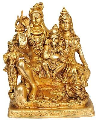 Lord Shiva Family Goddess Parvati Baal Ganesha Lord Kartikeya Brass Sculpture 8""