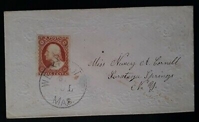 RARE c.1851 United States Cover ties 3d Washington Imperf stamp canc Westport