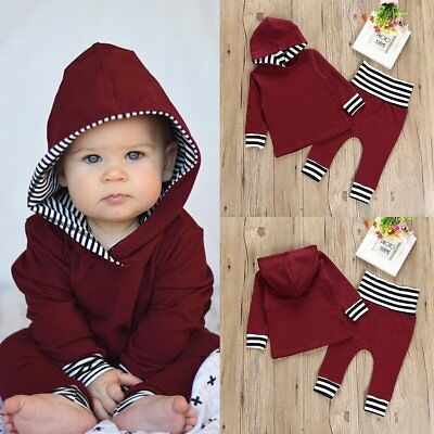 2pcs Newborn Toddler Baby Boy Girl Hooded Sweater Tops+Pants Outfits Set Clothes