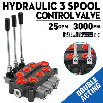 3 Spool 25 GPM RD532CCCAAA5A4B1 Hydraulic Valve SAE Ports Double Acting 3000 PSI