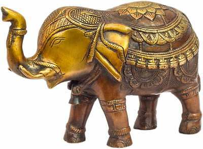 Shui Feng Brass Animal India Figurine Hand Carved Elephant Statue Showpiece 6""