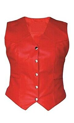 Womens Bikers Waistcoat Real Red Genuine Leather Vest