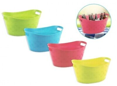 GREEN Large Plastic Coloured Ice Drinks Bucket Flexi Tub Carrier Wine Beer Pop