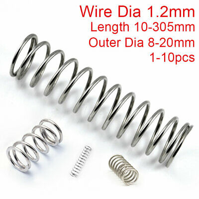 1.2mm Wire Compression Spring 304 Stainless Steel Pressure Springs 10-305mm All