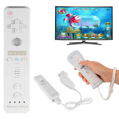 White Built in Motion Plus Remote and Nunchuck Controller for Nintendo Wii AC650