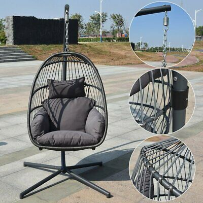 Egg Hanging Patio Chair Outdoor Furniture Swing Black Resin Wicker Cushion Frame
