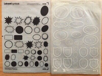 2 Sheets Of Symbols Letraset Black Advertisers Flashes + White Crests Ovals