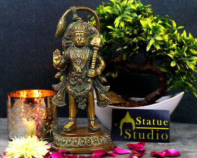 Brass Hindu God Lord Hanuman Statue Standing Idol Figure Religious Decor Art 7""
