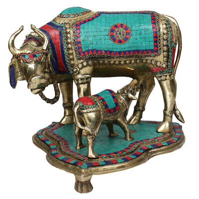 Indian Hindu Sacred Holy Cow Calf Pair Lucky Décor Gift Inlay Statue Idol 16""