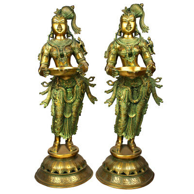 Large Apsara Entrance Diwali Fengshui Vastu Decor Deeplaxmi Pair Statue 2.5 Feet
