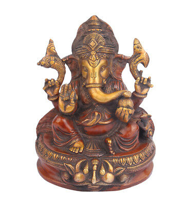 Ganesha Statue Brass Ganesh Idol Ganpati Antique Finish Home Decor Religious 8""