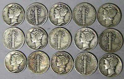 Lot of 15 Mercury Silver Dimes 1930s-1940s 15 Different Dates and/or Mint Marks