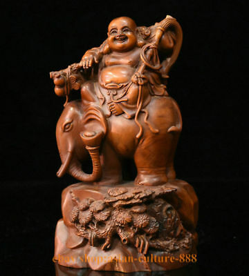 "7"" Chinese Boxwood Wood Hand-Carved Happy Maitreya Buddha On elephant Sculpture"