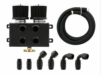 1.2L Twin Filter Dual Baffled Engine Oil Catch Can Front Port w/ AN8 Hose Kit BK